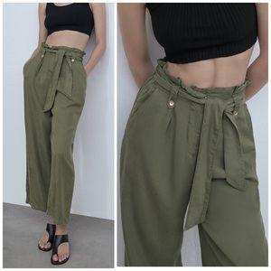 NEW Zara High Rise Flowy Wide Leg Khaki Culottes